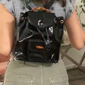 Auth GUCCI BackPack Bag BAMBOO Black Enamel1525970